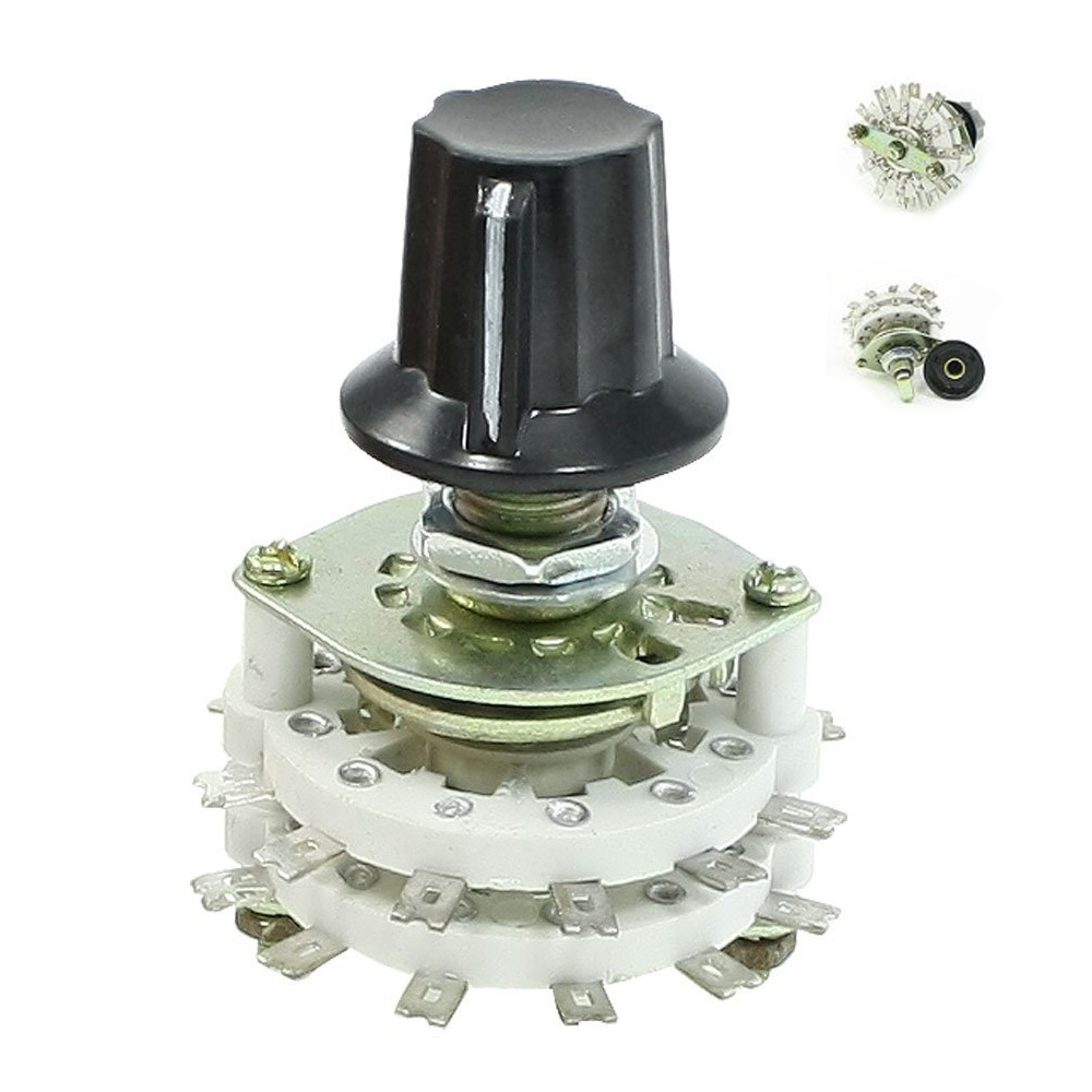High Quality Band Channael Rotary Switch 2P11T 2 Pole 11 Position Dual Deck 4pcs band channael rotary switch 2p3p 2 pole 3 position single deck