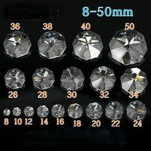 Высокое качество 14 мм прозрачные хрустальные Восьмиугольные бусины в два отверстия для гирлянды, свадебные украшения стола, солнышко