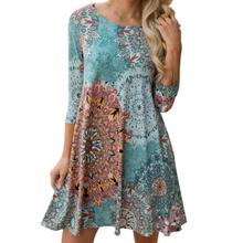 snowshine4 # 4003 Womens Long Sleeve Vintage Boho Maxi Evening Party Beach Floral Dress