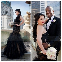 Sexy Black Lace Mermaid Gothic Wedding Dress Lace Appliques Ruffles Beading Bridal Gowns Lace Up Back Slim 2019 Vestidos