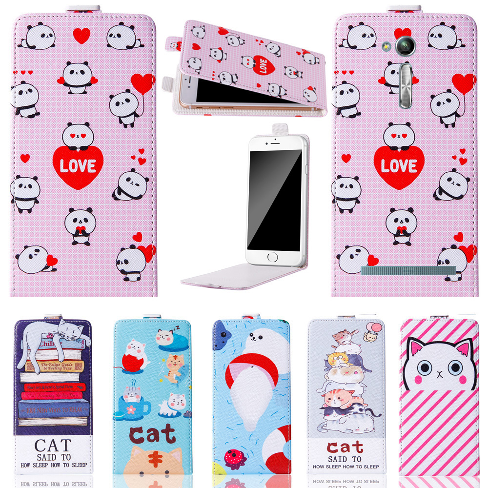 Hot! 2018 Cute Cartoon up and down Stand Flip PU Leather Cover Plastic Back With Card Holders For Asus Zenfone Go TV ZB551K Case