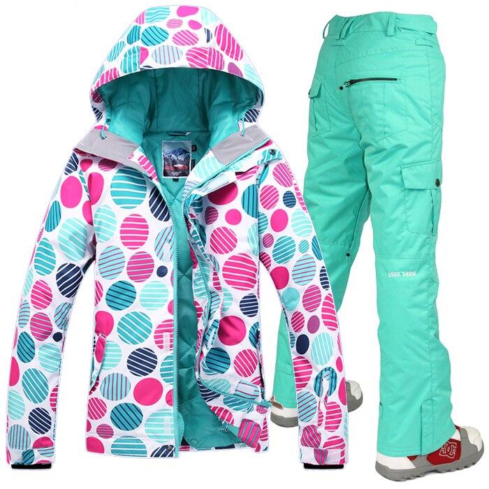 Prix pour 2014 Gsou neige costume de ski des femmes en plein air ski costume pour les femmes dames vêtements de ski de neige imperméable 10 K top qualité bateau libre de SME