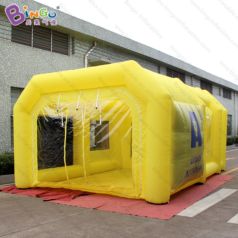 Personalized 6.5x4.5x3 Meters Yellow Inflatable Car Paint Spray Booth / Inflatable Temporary Paint Booth Toy Tents