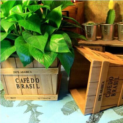 New Furnishings fun 100% Fir wooden vase flower pot wooden box fence flower,nature pure handmade wooden flower pot Bonsai,2 pcs