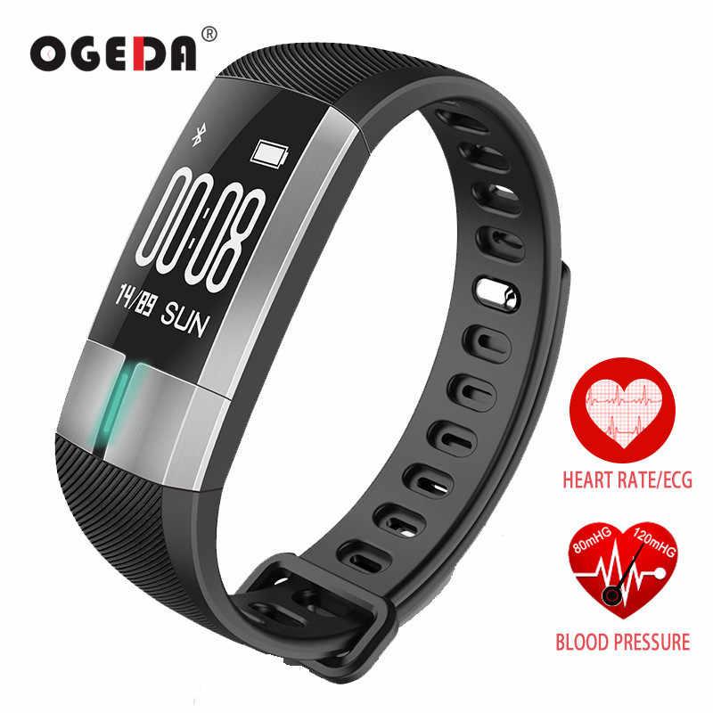 "OGEDA חכם שעון גברים דם לחץ ניטור אק""ג קצב לב Moniter ספורט בריאות כושר גשש חכם צמיד Passometer"