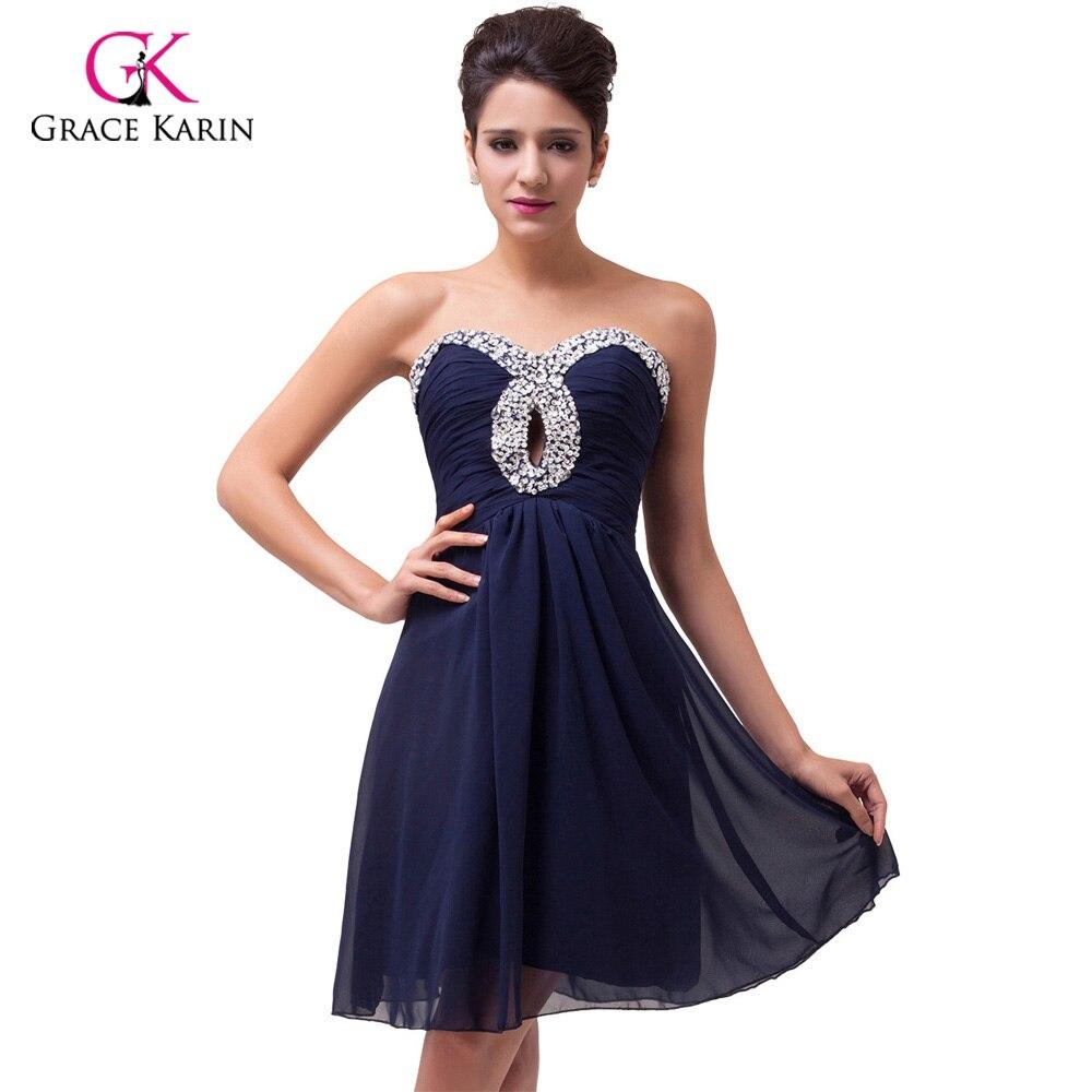 ≧Navy Blue Short Prom Dresses 2018 Grace Karin Beaded Graduation ...