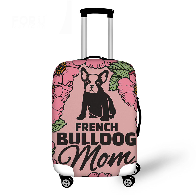 Pink Bulldog Case Cover Teenager Girls Travel Luggage Elastic Trunk Luggage Dust Covers For Suitcase With Zipper New
