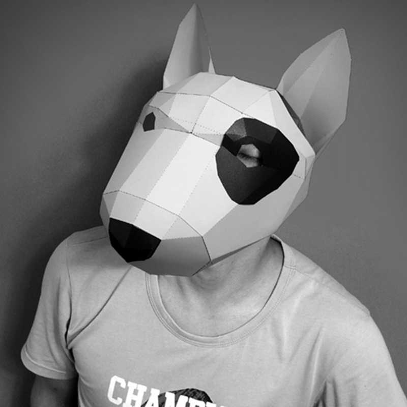 3D Paper Mask Fashion Bull Terrier Animal Costume Cosplay DIY Paper Craft Model Mask Christmas Halloween Prom Party Gift