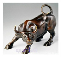 Free shipping Asian Big Wall Street copper Fierce Bull/OX Statue,Home decoration 8inch high Cow sculpture