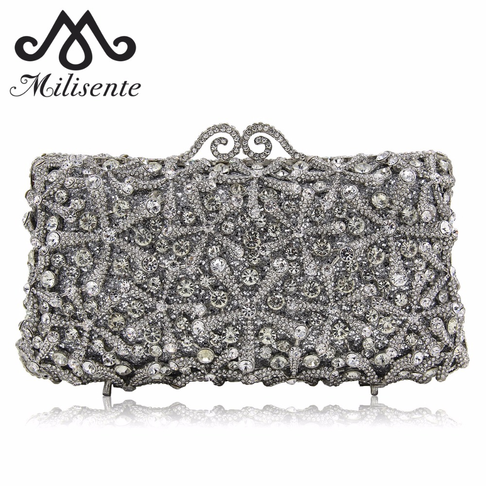 Milisente Fashion Flower Clutch Bags Full Crystal Clutches Women Silver Party Purse Ladies Wedding Bag With Long Chain цена и фото