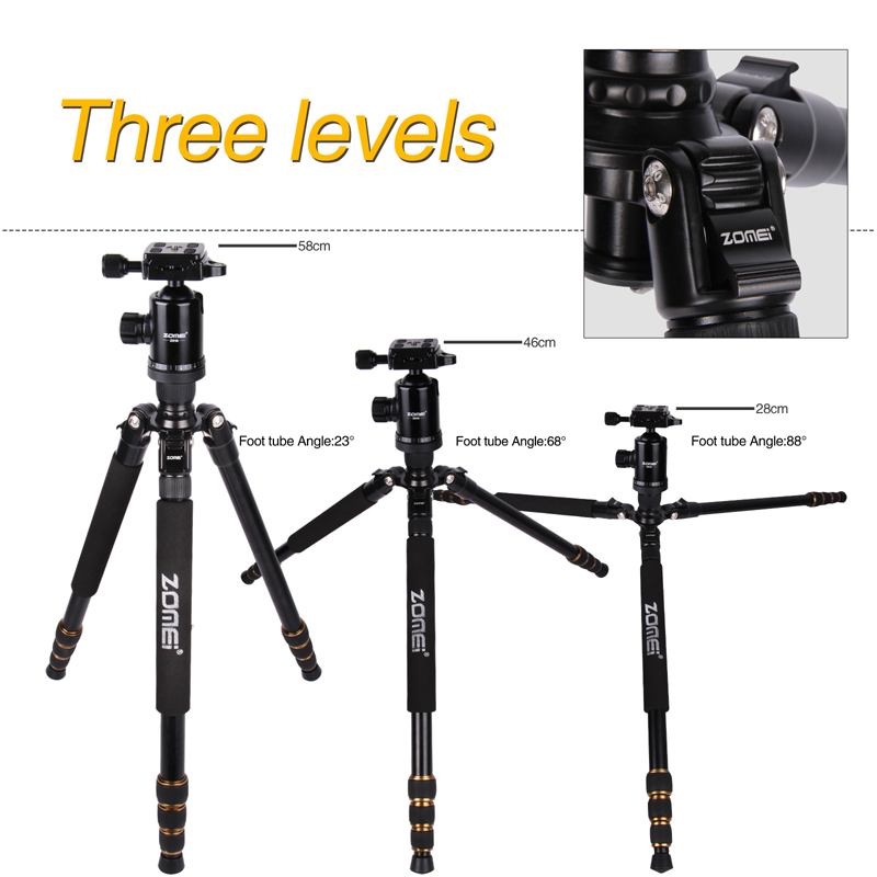 Free Shipping Zomei Z688 Aluminum Professional Tripod Monopod Ball Head For DSLR  SLR camera Portable / camera stand