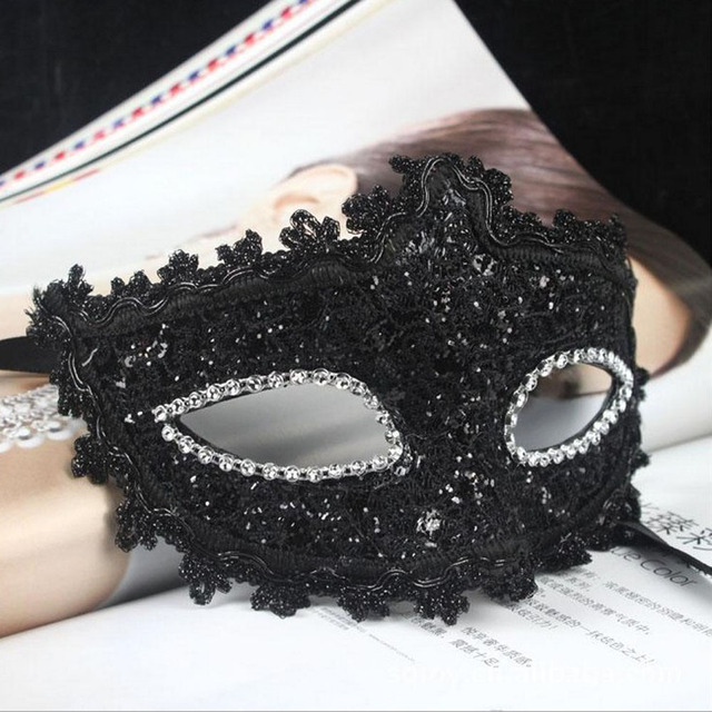 Exquisite Venetian Style Lace Crystal Rhinestones Cosplay Mask for Halloween /Masquerade /Costume Party Gifts (Black)
