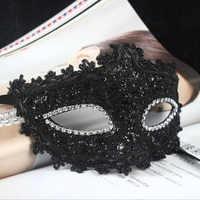 ANGRLY Exquisite Venezianischen Stil Spitze Kristall Strass Cosplay Maske für Halloween/Masquerade/Kostüm Party Geschenke (Schwarz)