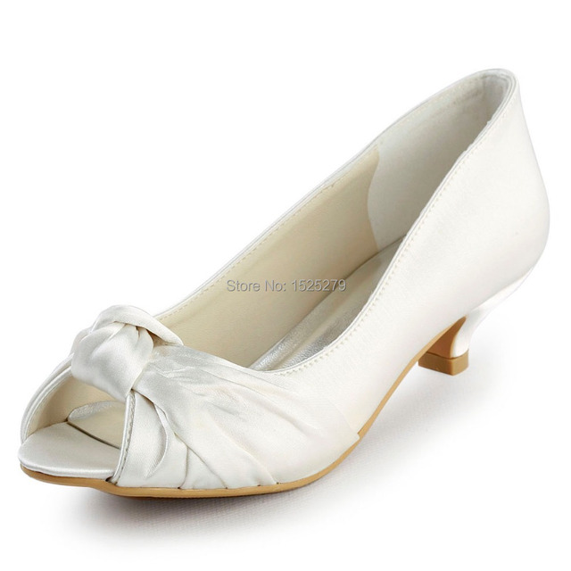 EP2045 Ivory White Women Bridal Party Low Heels 1.5'' Prom Pumps  Comfortable Peep Toe