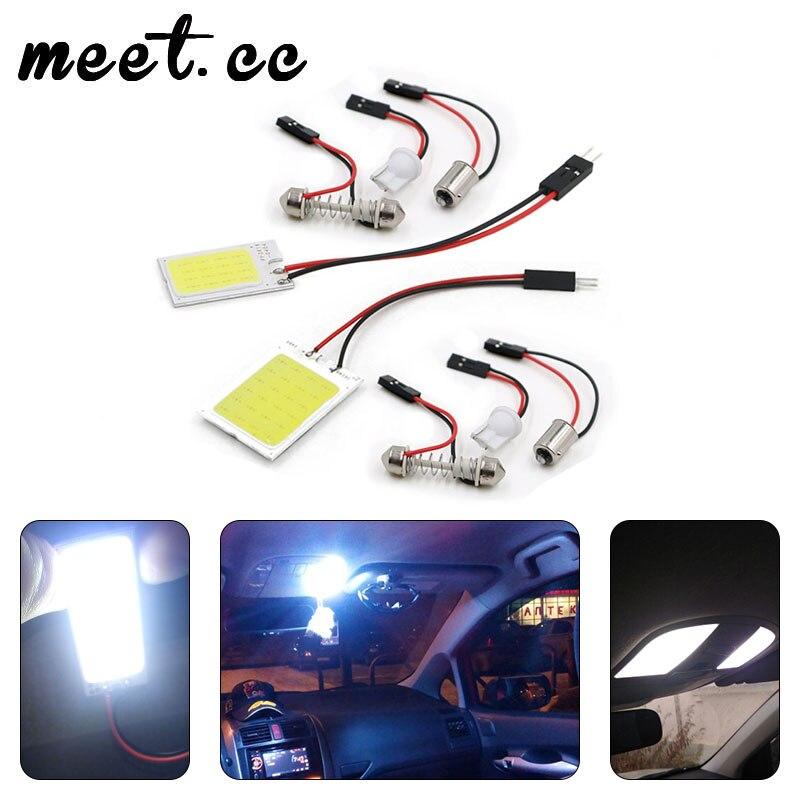 Встретиться. cc 2 шт. T10 светодиодный COB автомобилей Светодиодный BA9S гирлянда плафон COB Чип белого и синего цвета Цвет лампы для чтения парковк...