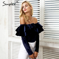 Simplee Off Shoulder Velvet Ruffle Bodysuit Women Sexy Long Sleeve Jumpsuit Romper Autumn Winter Party Club