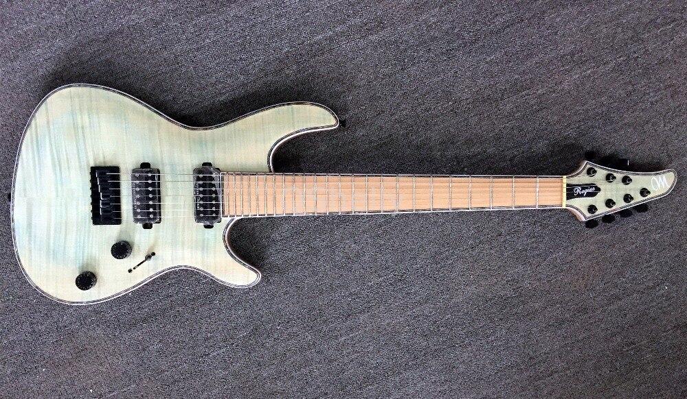 Calidad Superior QShelly custom 7 Uds cuello de arce a través de abulón revestimiento blanco de bloqueo tuners Mayones Regius 7 cuerdas guitarra eléctrica