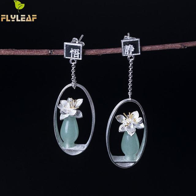 Flyleaf Natural jade Gold Flower Drop Earrings For Women 100% 925 Sterling Silver Chinese Style Vintage Jewelry