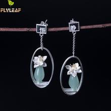 Flyleaf natural jade ouro flor gota brincos para mulher 100% 925 prata esterlina estilo chinês vintage jóias