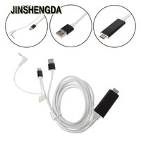 JINSHENGDA Audio Video Cables USB Tipo C A HDMI AV Digital de televisión de ALTA DEFINICIÓN de 3.5mm Audio Cable Adaptador Para PC Portátil TV