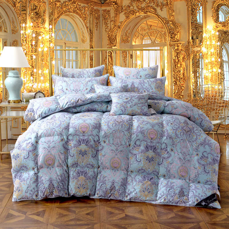 Twin Queen King size Blue color 100%Cotton goose duck down