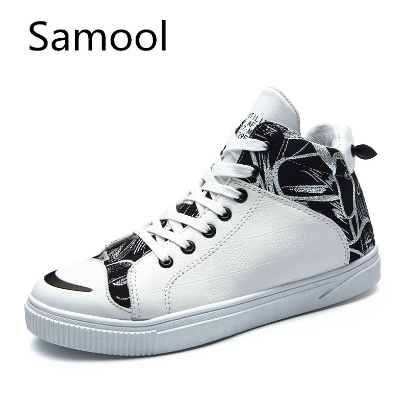 2017 Samool New Men Shoes Fashion Warm Autumn Winter Front Lace-Up Leather Ankle Casual Shoes Casual High Canvas Men zXZ5