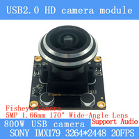 HD 8MP ojo de pez ancho ángulo de visión de 170 grados Sony IMX179 Webcam UVC OTG MJPEG cámara USB para soporte de audio Android Linux Windows|Cámaras de vigilancia| |  -