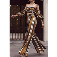 Missord 2017 Sexy Spring And Summer New Romper Womens Jumpsuit Two PCS Set Puff Sleeve Elegant