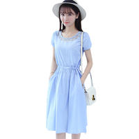 Women's Casual Short Sleeve Drawstring Waist Knee Length Dress O-Neck Solid Blue White Cute A-Line Summer Dresses Vestidos XH372