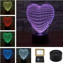 AUCD USB Acrylic Colorful Love Heart Night Light Household Bedroom Office LED Table Lamp Child Girl Christmas Gift 3D-TD116