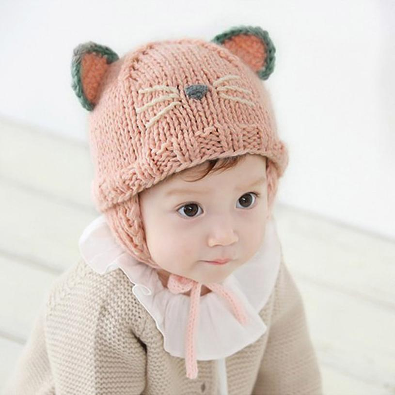 Autumn Winter Toddler Infant Knitted Baby Hat Adorable Cat Cute Hat Baby Beanie Cap Photo Props Props Cap Gorras #k33