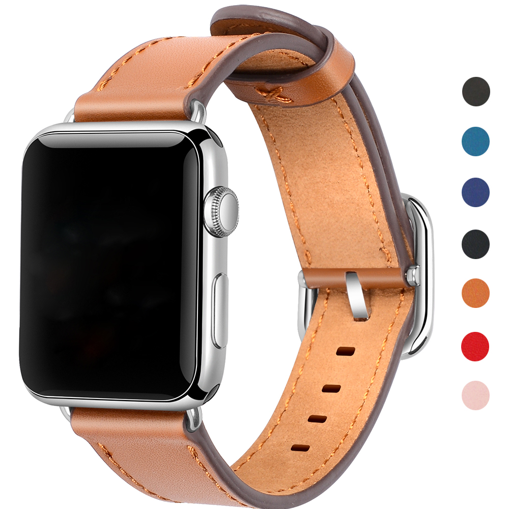 Leather Watch Band For Apple Watch 38mm 42mm Black Brown Red Replacement Strap For iWatch Series 1&2&3 For Apple Watch Sport vintage red brown crazy horse genuine leather watchband for apple watch 38mm 42mm women men replacement band strap for iwatch