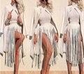 2017 Moda Hippie Boho Fringe Borlas Preto Branco Cintos de Couro Do Falso Das Senhoras Matching Cintura Alta Longa das Mulheres studded Cintos
