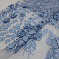 Latest Light Blue Tulle Lace Fabric High Quality Europe And America Fashion Fabric With Beads 3d
