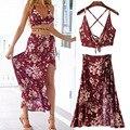 Vancol женщины 2016 летнее платье без бретелек макси лонг-бич платья сексуальный открытой спиной урожай лучших и юбка установить комплект женской одежды