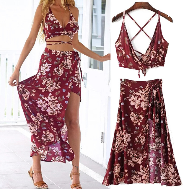 Vancol 2016 Summer Dress Women Strapless Maxi Long Beach Dresses Sexy Open Back Crop Top and Skirt Set Sets of Women's Clothing