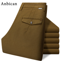 Anbican Brand High Quality Winter Corduroy Pants Men Full Length Straight Trousers Slim Fit Mens Chinos