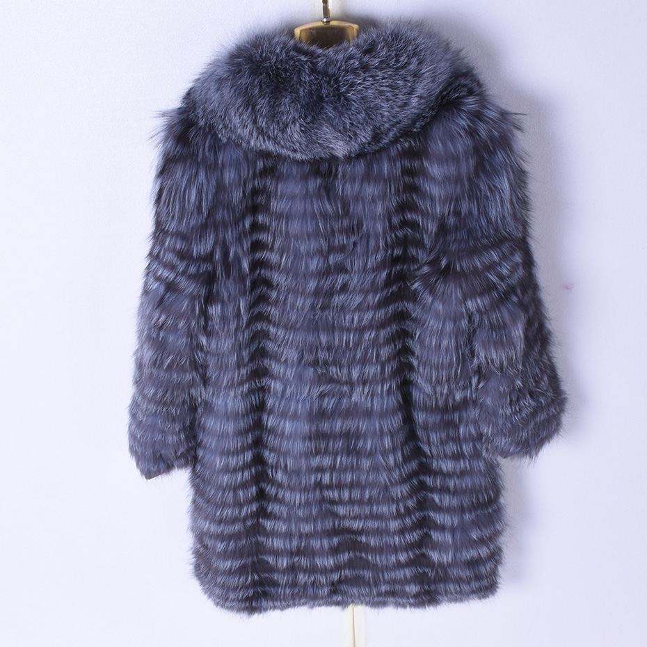 2018 Natural Woman Winter Real Silver Fox Fur Long Striped Coat 90 cm Coat Jacket Leisure Fox Hair Collar Women 39 s Warm Clothing in Real Fur from Women 39 s Clothing