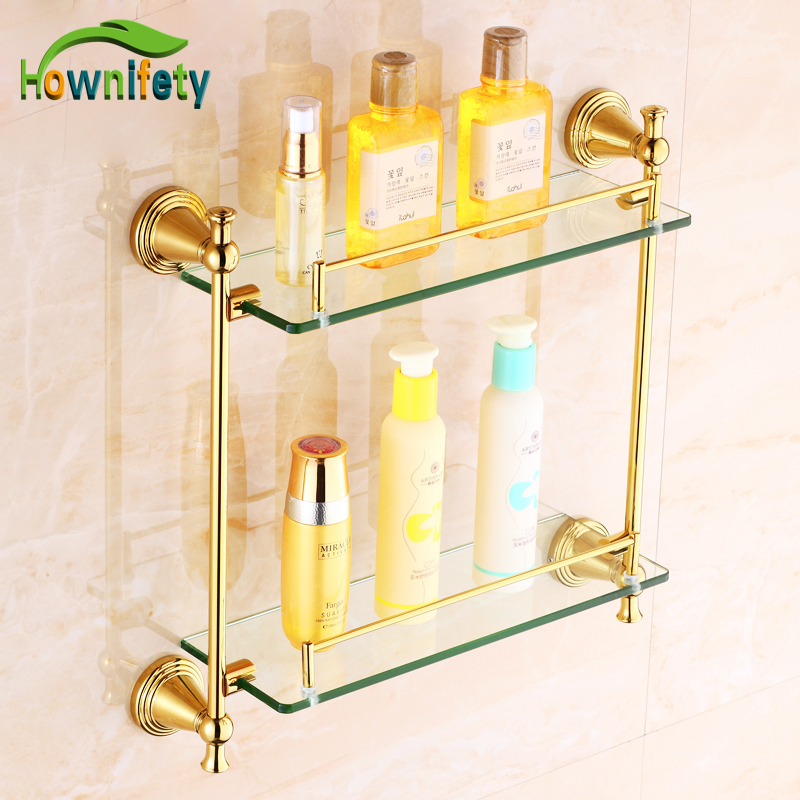 Gold Plate Bathroom Dual Tiers Storage Shelf Wall Mounted Cosmetic Rack perforated wall mounted bathroom shelf bathroom racks nail polish rack bathroom sink storage rack tissue rack004