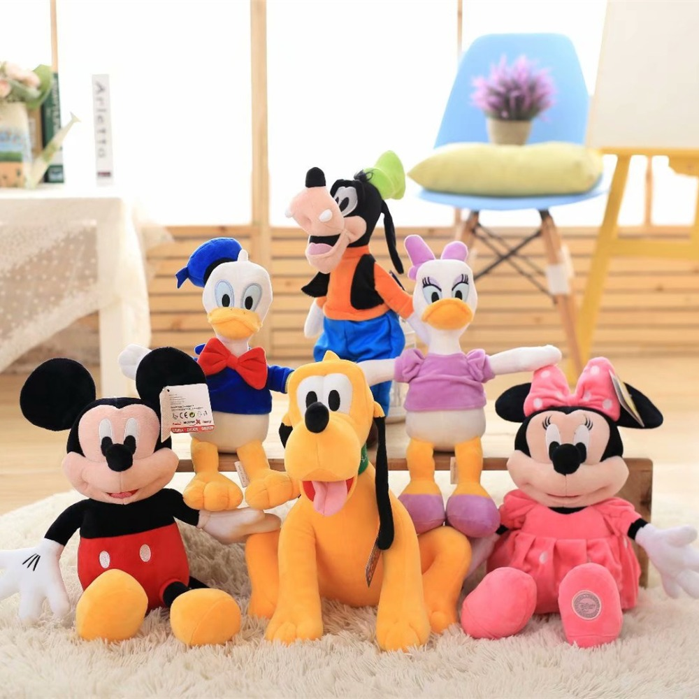 Babiqu 1pc 50cm Classic Mickey Minnie Mouse Donald Daisy Goofy Pluto Dog Stuffed Cute Plush Toys Cartoon Figure Dolls Kids Gift