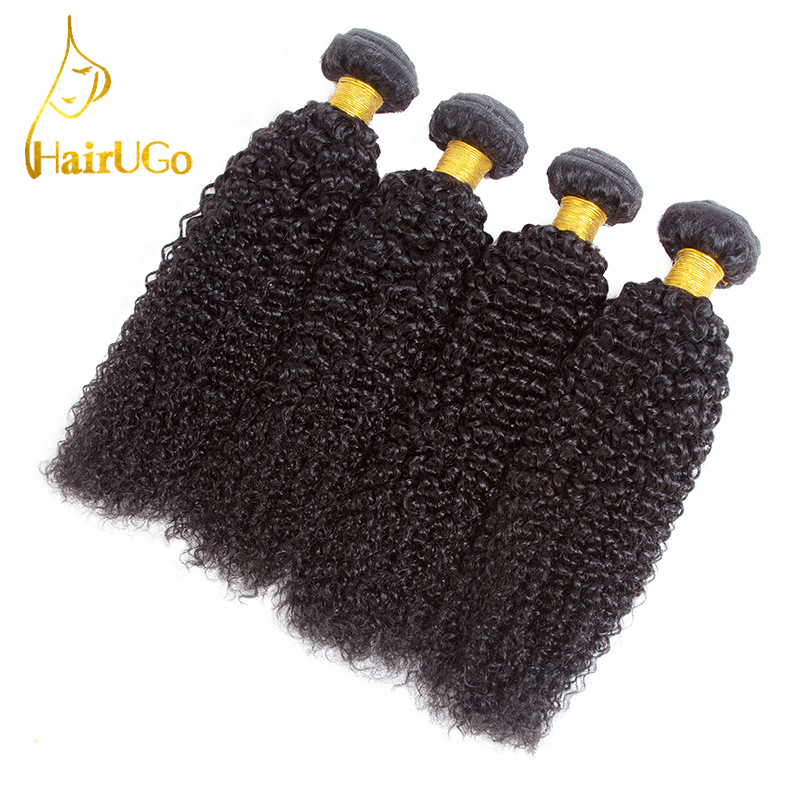 HairUGo Hair Pre-colored Peruvian Kinky Curly Wave Human Hair Bundles Natural Black Non Remy Hair Extension 4 Bundles