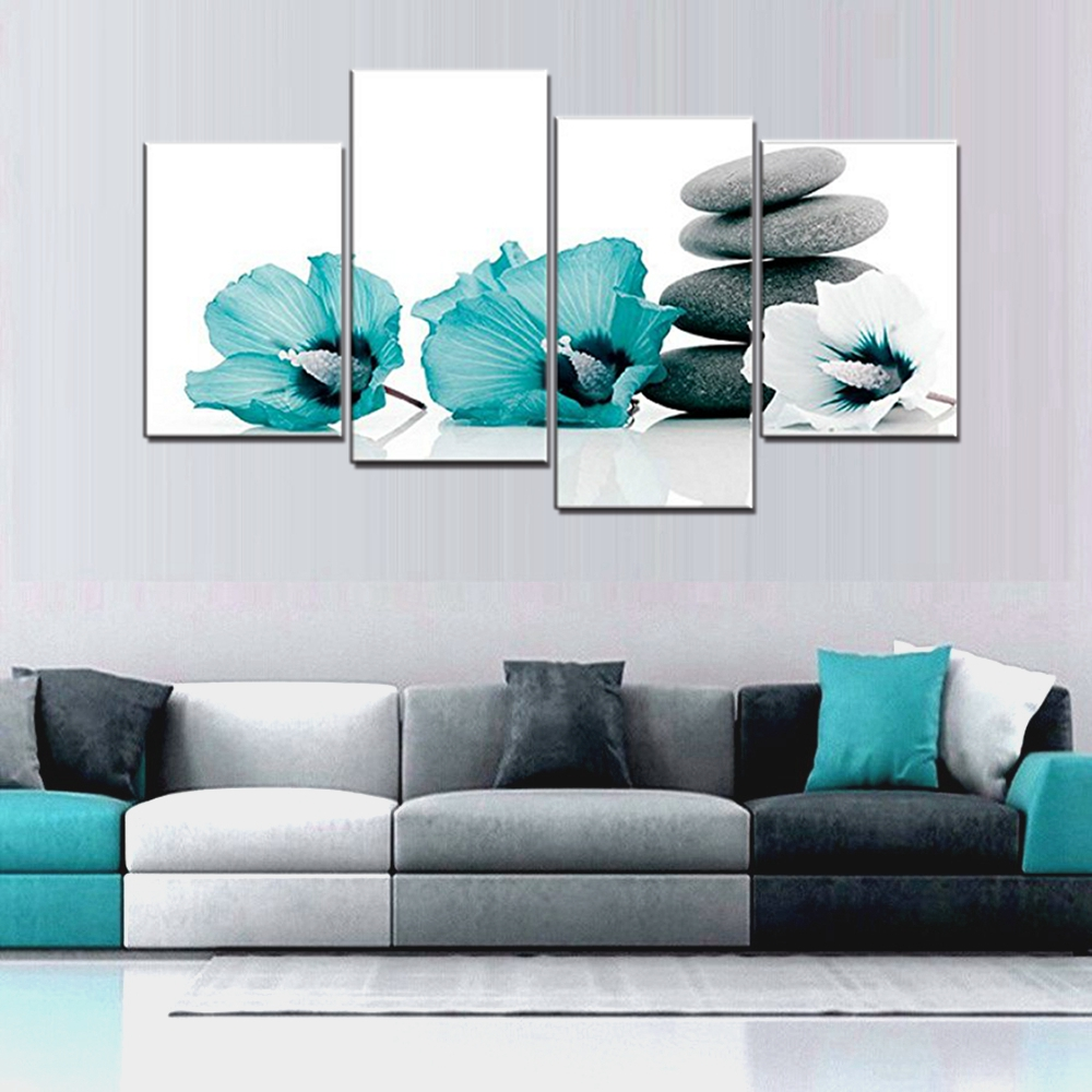 Large Teal Grey And White Lily Floral Canvas Wall Art