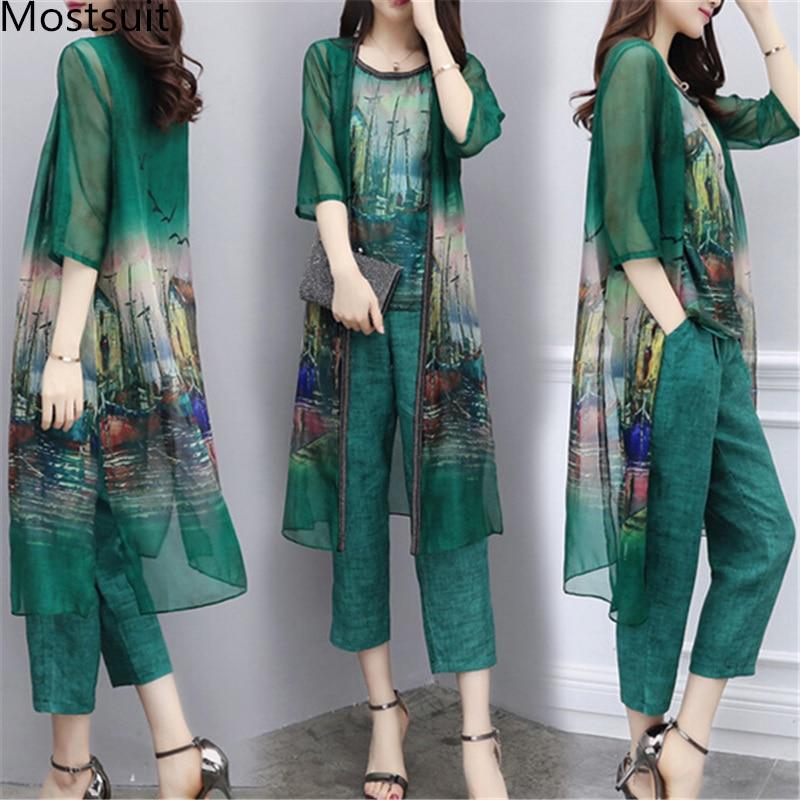 Chiffon Printed 3 Piece Sets Outfits Women Plus Size Cardigan+vest+pants Suits Spring Summer Elegant Korean Ladies Sets Green
