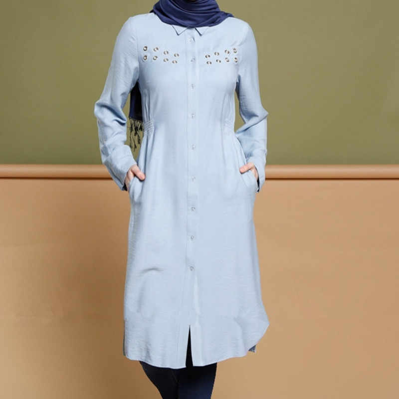 Fashion Women Lady Dress Muslim Loose T shirt Top Dresses Islamic Long Sleeve Bead Kaftan Abaya Arab Tunic Clothes