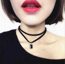 New Fashion Multilayer Black Imitation Leather Choker Necklace