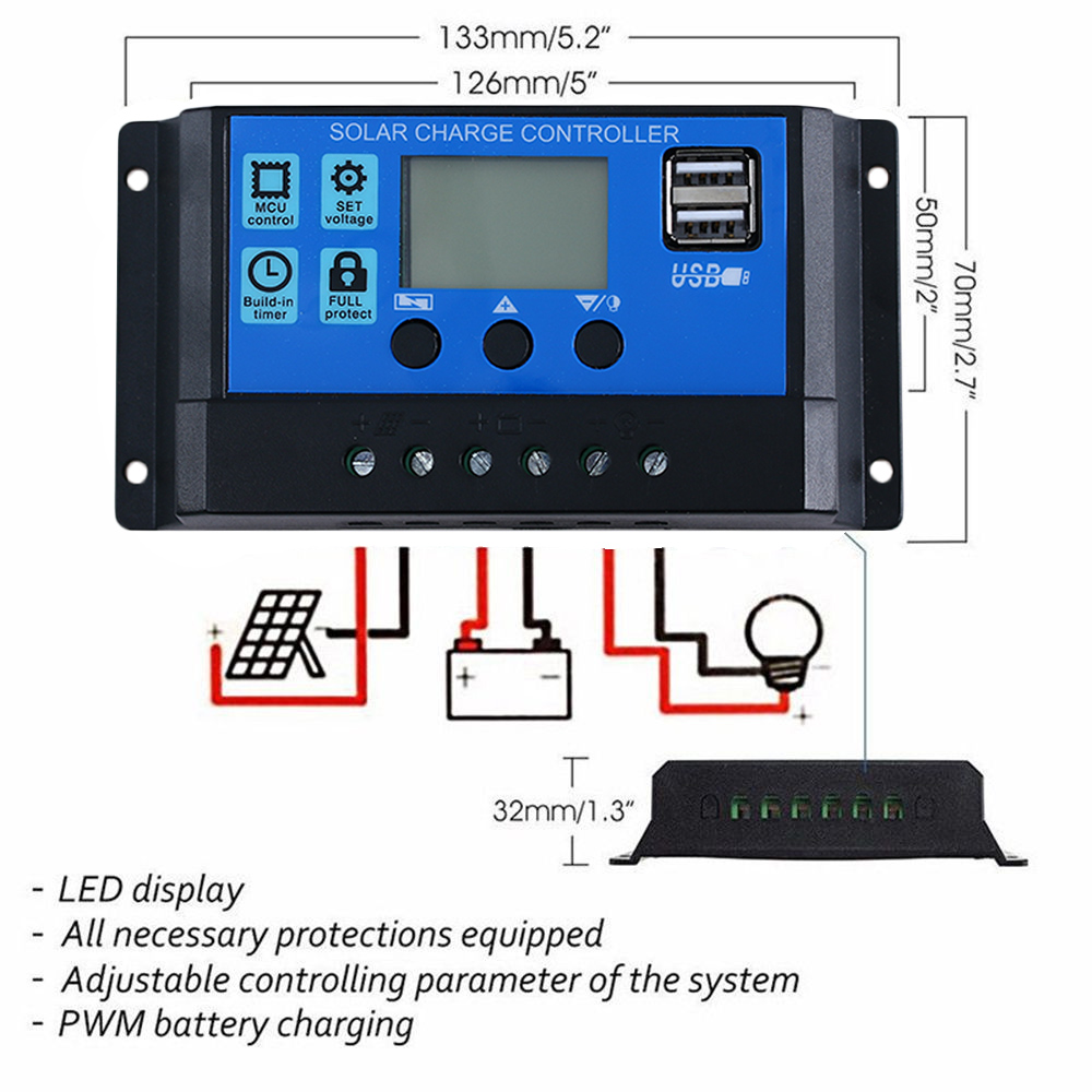 Practical 10a 20a 30a 12v 24v Solar Panel Charger Controller Battery Pwm Charge 12v24v Automatic Art Of Circuits Regulator Dual Usb Lcd In Controllers From Home Improvement On