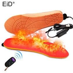 Plantilla calefactada eléctrica EID batt USB zapatos de invierno almohadilla de botas con Control remoto Material de espuma naranja plantillas calentadas de espuma de memoria