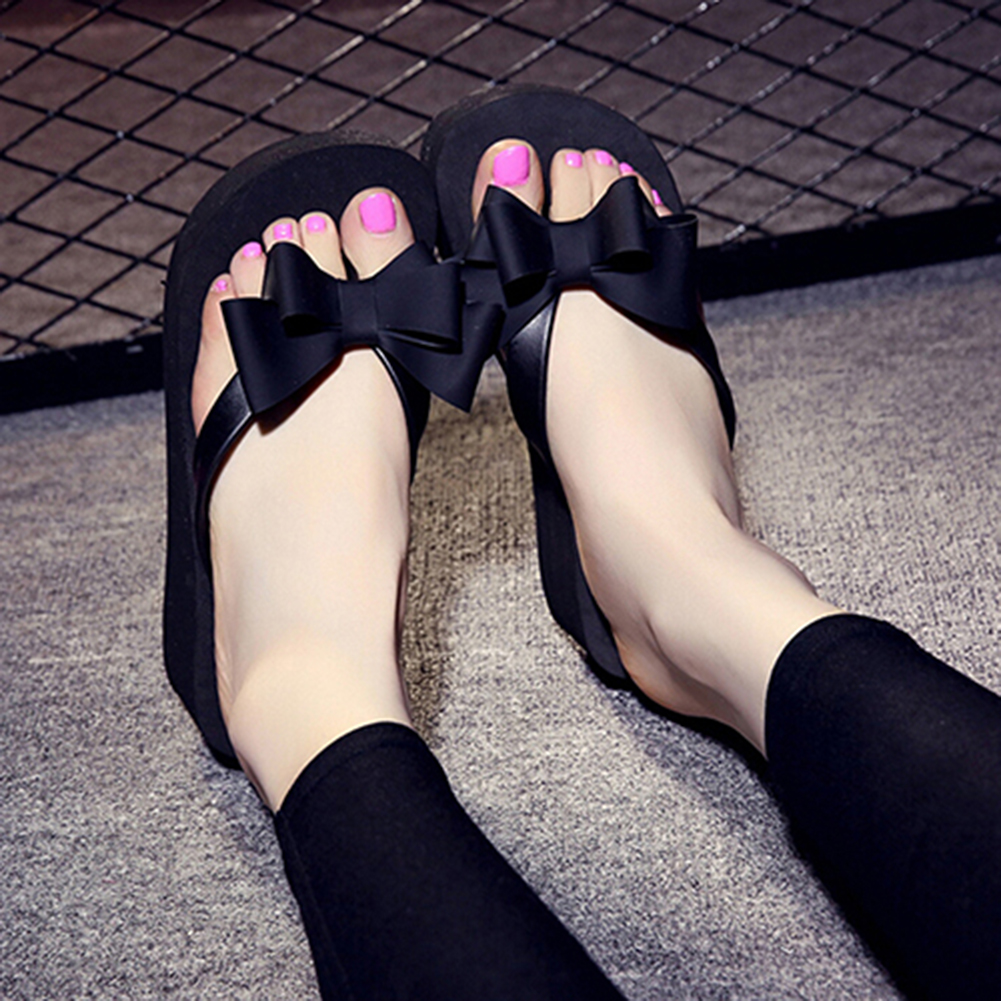 ⁿUltimate SaleSlippers Shoes Sandals Platform Flip-Flops Mid-Heel Beach Fashion Women Bowknot New-Arrival