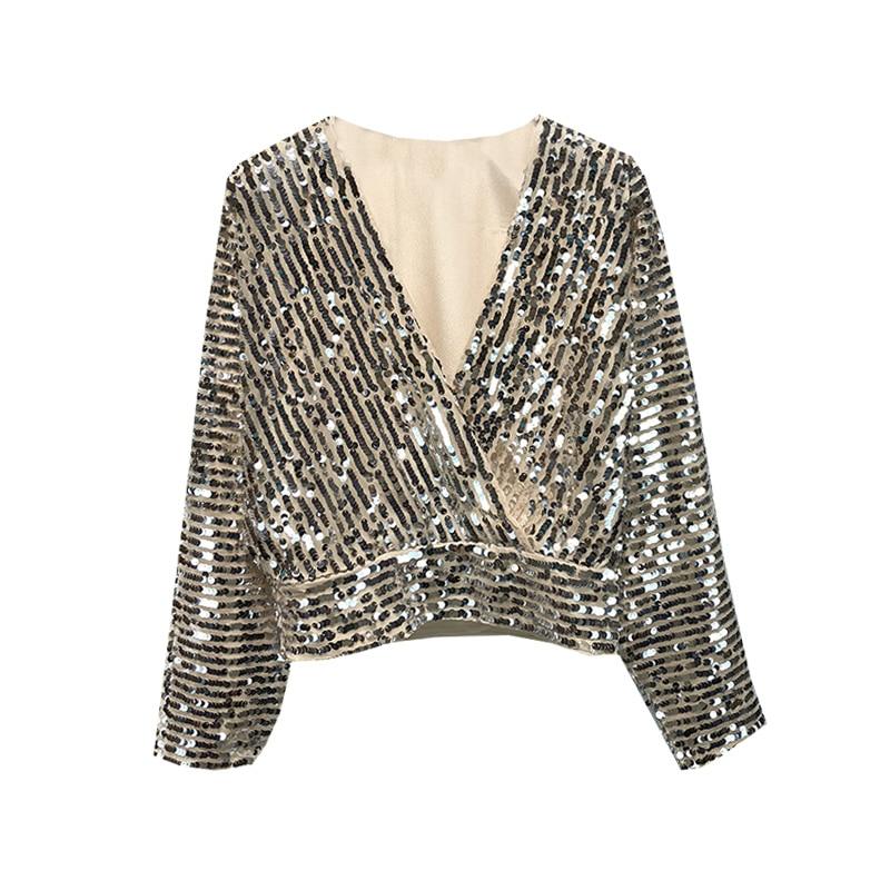 Cs864 New Fashion V Neck Crossed Design Silver Sequined Tops Women Short Design Paillette Blouse Blouses Shirts Aliexpress