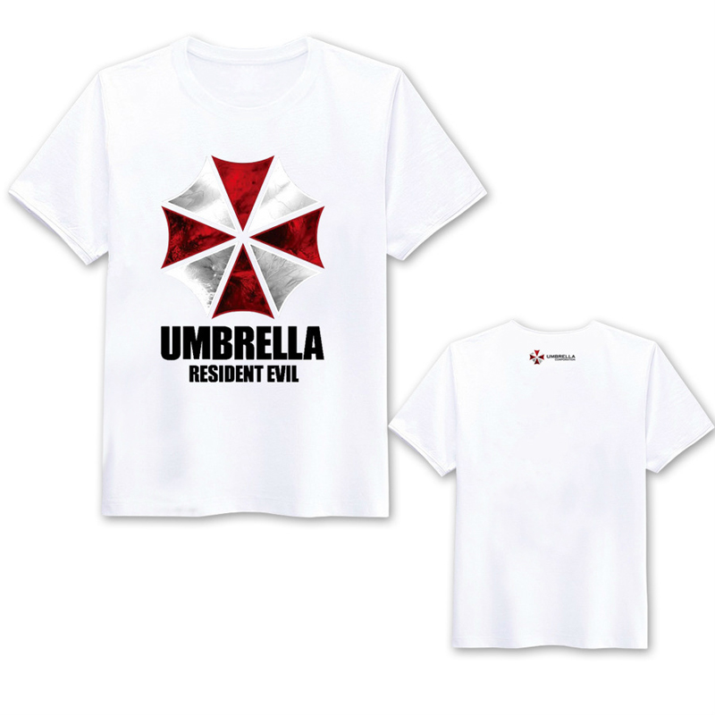 2Colors Resident Evil Umbrella Short Sleeve T-shirt Cosplay Costume Biohazard Summer Daily Casual Round Neck Tee Shirt T